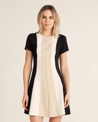 Vince Camuto Short Sleeve Color Block Fit & Flare Dress
