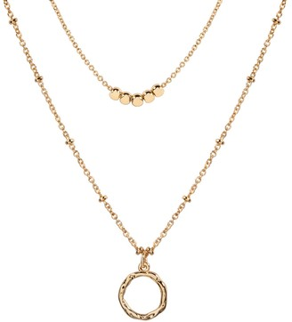 Lauren Conrad Gold Tone Beaded & Textured Circle Pendant Two-Row Necklace