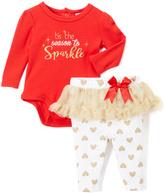 Baby Essentials Red 'Tis the Season' Bodysuit & Skirted Leggings - Infant