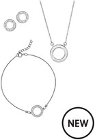 Evoke Sterling Silver & Swarovski Elements Halo Necklace, Bracelet And Earrings Set