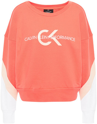 Calvin Klein Color-block Printed French Cotton-terry Sweatshirt