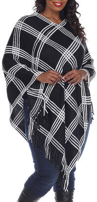 Dakota White Mark Womens 3/4 Sleeve Poncho Plus