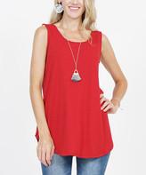 Lydiane Women's Tee Shirts DK.RED_IPB - Dark Red Sleeveless Curved-Hem Top - Women
