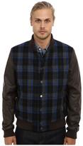 Members Only Plaid Wool Varsity Jacket w/ PU Sleeves