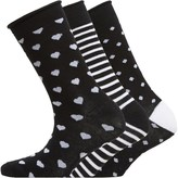 Fruit Cake Fruitcake Womens Stripe & Dots Three Pack Socks Black