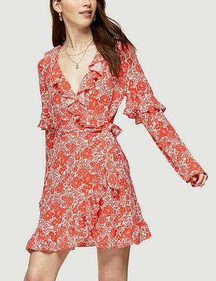 Topshop Floral-print ruffled woven mini dress