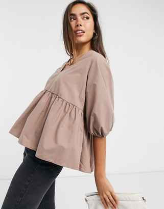 ASOS DESIGN long sleeve cotton smock top with peplum hem in chocolate