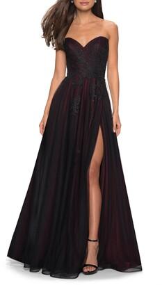 La Femme Strapless Embroidered Mesh Ballgown