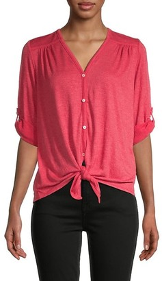 Max Studio Tie-Front V-Neck Top