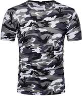 Tootu Home Clothing Tootu Fashion Personality Camouflage Men's Casual Slim Short-Sleeved Shirt Top Blouse (M, )