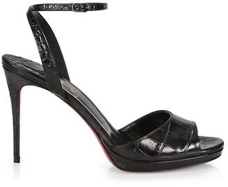 Christian Louboutin Loubiloo Croc-Embossed Leather Platform Sandals