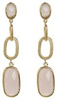 Rivka Friedman 18K Gold Clad Faceted Rose Quartz Satin Link Drop Earrings