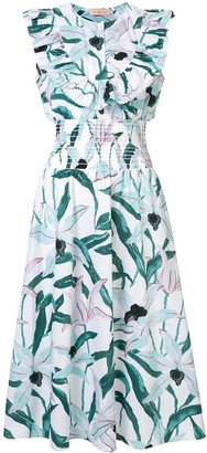 Tory Burch floral ruffle bib dress