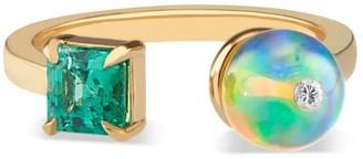 Ri Noor Toi Moi Opal Bead Emerald & Diamond Ring