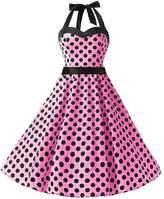 Dresstells® Halter 1950s Vintage Audrey Dress Polka Dots Retro Cocktail Dress S