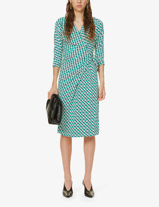 Diane von Furstenberg Isadora geometric-print silk-knit wrap dress