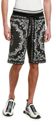 Dolce & Gabbana Men's Bandana-Print Cotton Sweat Shorts