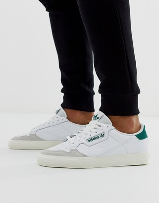 adidas continental 80 vulc sneakers in leather with green tab