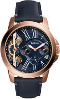 Fossil Men's Chronograph Grant Blue Leather Strap Watch 44mm ME1162