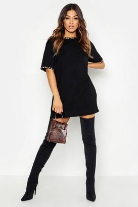 boohoo Leopard Print Contrast Trim T-Shirt Dress