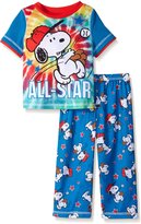 """Peanuts Little Boys' Toddler """"All-Star Pitch"""" 2-Piece Pajamas"""