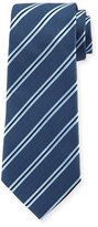 Armani Collezioni Woven Diagonal-Stripe Silk Tie, Navy