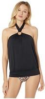 MICHAEL Michael Kors Iconic Solids Blouson Halter Tankini Top (Black) Women's Swimwear