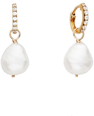 Lily & Roo Small Gold Huggie Pearl Drop Earrings
