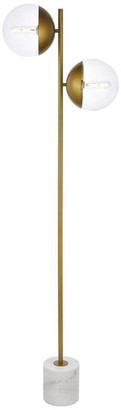 "clear 8"" Modern 2-Light Floor Lamp With Glass, Brass"