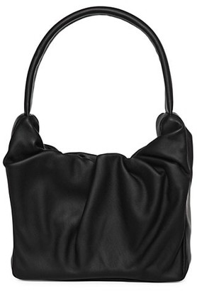 STAUD Felix Ruched Leather Top Handle Bag