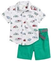 Little Me Car Print Woven Shirt & Shorts Set