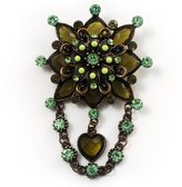 Avalaya Vintage Statement Charm Brooch (Olive Green)