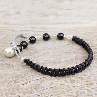 Novica Handmade Silver Leather 'Fantasy Eclipse' Onyx Bracelet