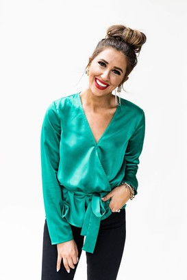 Gibson Satin Faux Wrap Top