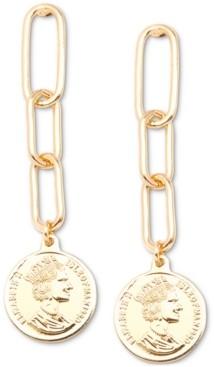 Zenzii Gold-Tone Coin Drop Earrings