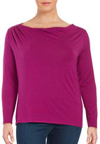 Lord & Taylor Plus Draped Front Top