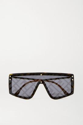 Fendi D-frame Gold-tone And Acetate Mirrored Sunglasses - Tortoiseshell