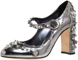 Dolce & Gabbana Silver Metallic Leather Floral Applique, Spike And Crystal Embellished Mary Jane Pumps Size 40