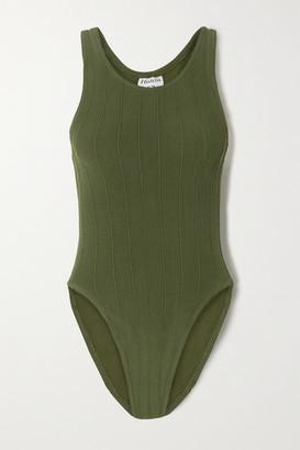 Hunza G Iris Ribbed Seersucker Swimsuit - Army green