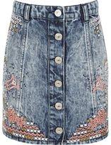 River Island Girls blue acid wash denim embroidered skirt