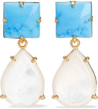 Bounkit 14-karat Gold-plated, Turquoise And Mother-of-pearl Earrings