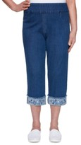 Alfred Dunner Petal Pushers Floral-Embroidered Pull-On Pants
