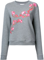 Carven floral embroidered sweatshirt - women - Cotton - M