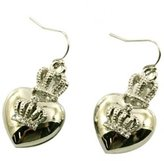 Glamour Girl Gifts Collection Designer Inspired Puff Heart and Crystal Crown Charm Earrings Silver Tone for Women and Teens