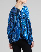 Emilio Pucci Printed Long-Sleeve Poncho, Black/Blue