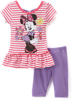 Children's Apparel Network Minnie Mouse Ruffle Top & Purple Pants - Infant & Toddler