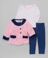 Sweet & Soft Pink & Navy Faux Fur Coat Set - Infant Toddler & Girls