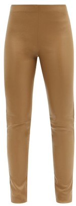 Joseph Mid-rise Leather Leggings - Beige
