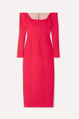 Emilia Wickstead Birch Off-the-shoulder Cloque Midi Dress - Red