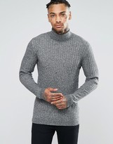 Asos Muscle Fit Ribbed Roll Neck Sweater in Merino Wool Mix